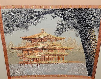 JAPANESE SILK EMBROIDERY TAPESTRY SCROLL PAINTING SIGNED