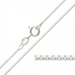 Box Chain 22 inch Long 925 Sterling Silver 1mm Thick Italian Chain Necklace