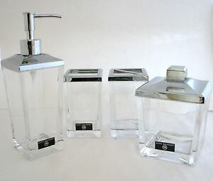 Image is loading HOTEL-BALFOUR-4PC-SET-SILVER-amp-HEAVY-CLEAR-