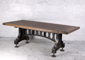 Details About 86 L Old Dining Table Hand Crafted Reclaimed Woods Cast Iron Base