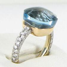 Pomellato Big Nudo 0.74cts Diamonds Blue Topaz Ring Sz 54 18k Rose Gold $5800