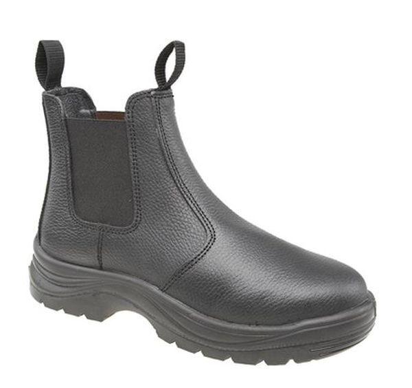 Taille 6 7 8 9 10 11 12 homme noir cuir acier sécurité concessionnaire bottines chelsea slip