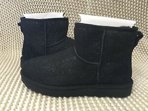 2641874b594 Details about UGG Classic Mini Milky Way Black Sparkle Suede Fur Boots Size  10 Womens