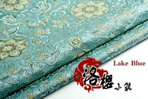 Jacquard-Brocade-Satin-Faux-Silk-Fabric-Lotus-Floral-Vintage-Costume-Upholstery