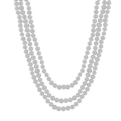 "Endless 80"" Grey Pearl Necklace FGE-297G"