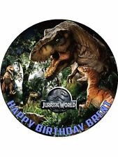 """Jurassic Park World Dinosaurs 7.5"""" Rice Paper Birthday Cake Topper D2"""
