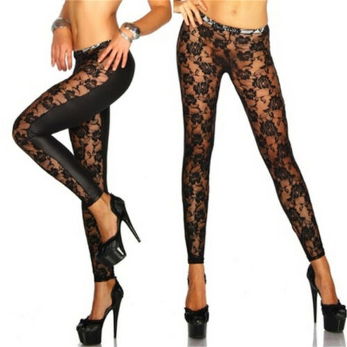 Womens Black Rose Vine Sheer Stretchy Floral Lace Leggings Tight Pencil PantPB