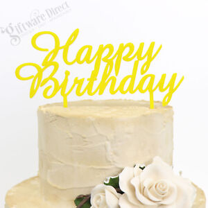 Image Is Loading Happy Birthday Cake Topper Elegant Style Reusable Decoration