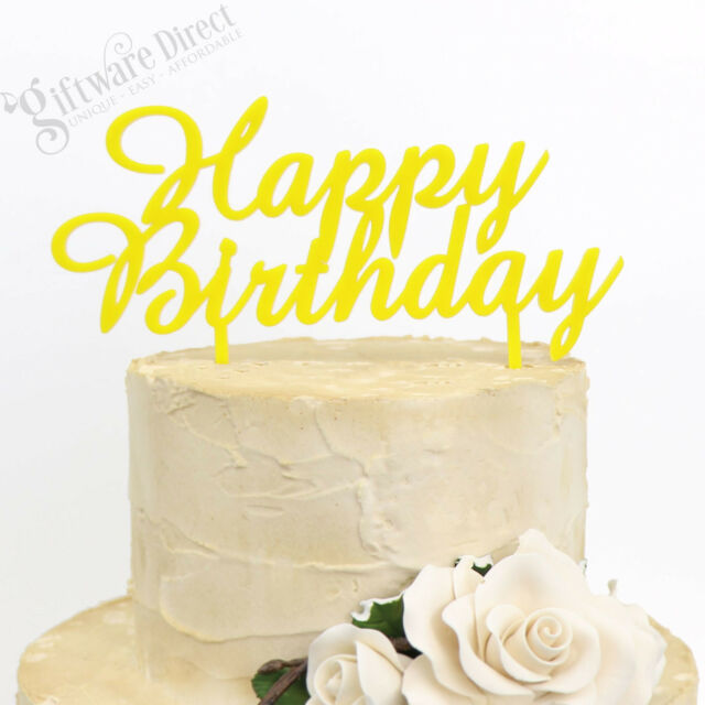 Happy Birthday Cake Topper Elegant Style Reusable Decoration 9 Colour Choices