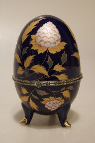 16cm aufklappbar Schmuckdose auf Füßchen stehend Porzellan-Ei Motiv Blätter