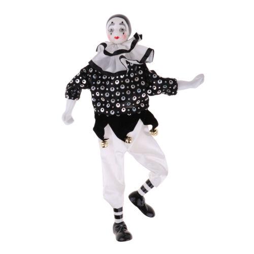 Vintage Porzellan Clown Puppe Figur mit bunten Kleidern und Hut Handgemalte