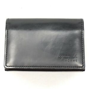 Agnes-B-Homme-Voyage-Mens-Slim-Bifold-Wallet-Black-Green-Leather-3-Slot-Card