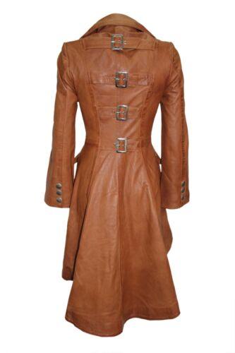 style cuir pour Veste véritable trench femme décontracté gothique nappa en CFqfw8q
