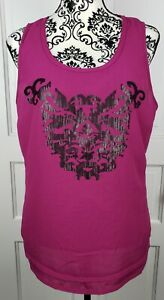 Ariat-Womens-Sequin-Scoop-Neck-Fuchsia-Pink-Tank-Top-Raw-Hem-Size-Large