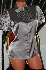 Marks&Spencer shiny elasticated sleek faux satin shirt blouse top size 16