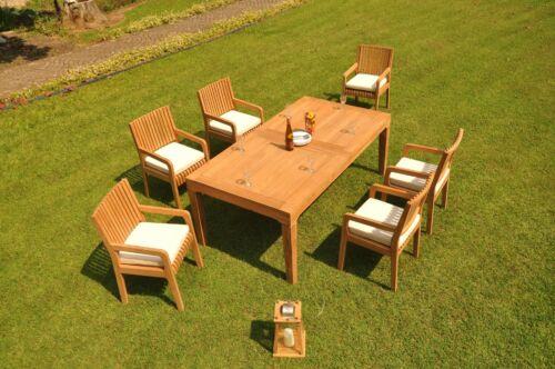 "7pc Grade-A Teak Dining Set 122"" Caranas Rectangle Table 6 Maldives Arm Chairs"