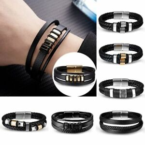Fashion-Leather-Bracelet-Handmade-Men-Women-Wristband-Bangle-Metal-Buckle-Gift