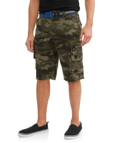 Mens Lazer Belted Cargo Shorts Green Camo Ripstop Stacked 100/% Cotton Size 32-40