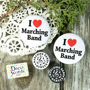 Marching-Band-Buttons-2-Medium-2-Small-Gift-PIN-BACK-BUTTONS-BADGES-New-Usa
