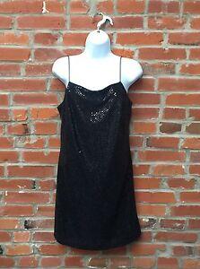 62b408d8224 Vintage 90s Sequin Mini Dress Womens Black Drape Cowl Neck Spaghetti ...
