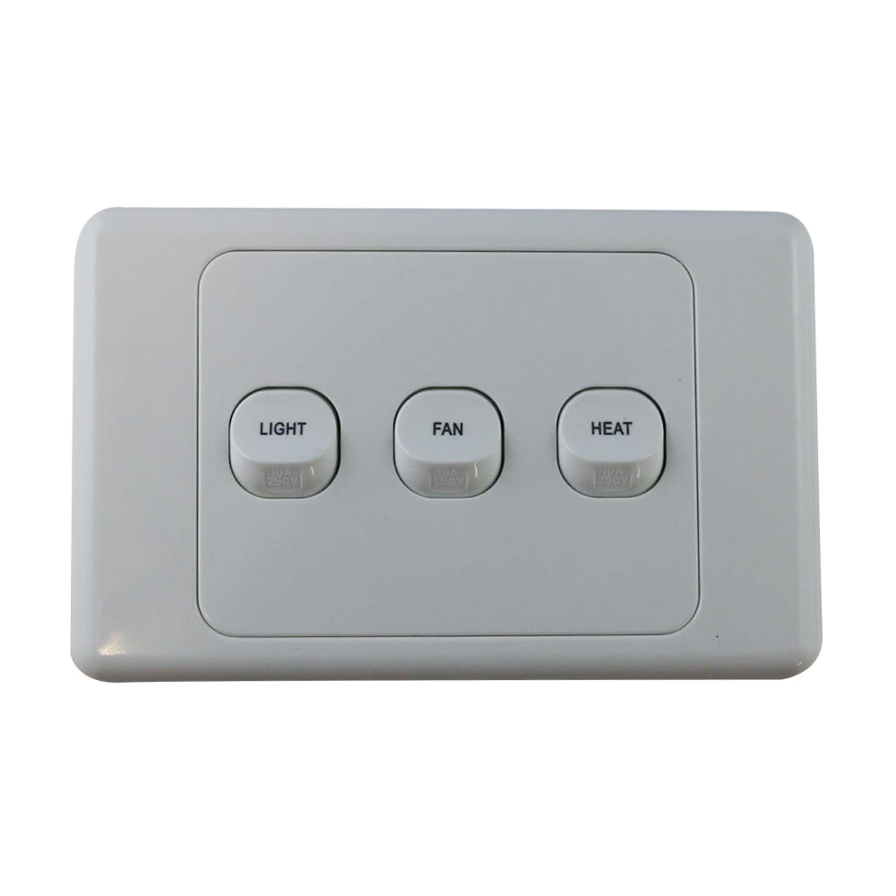 3 Gang Wall Switch - PRINTED WITH FAN LIGHT HEAT - Electrical Light ...
