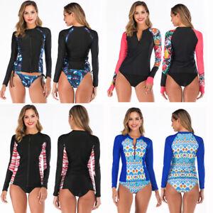 Rash Guard Swimsuit Bikini Women Two Piece Long Sleeve UV Sun Protection UPF 50