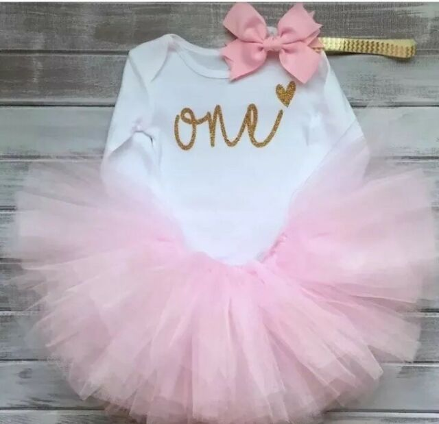 1st Birthday Tutu Outfits.Baby Girls First 1st Birthday Outfit Tutu Skirt Dress Pink Cake Smash Party One