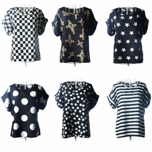 Women Casual Short Sleeve Chiffon T-shirt Lady Tank Tops Vest Blouse Multi-Style