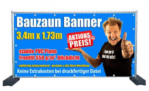 3x Hochwertige Bauzaunbanner PVC Plane Banner blickdicht mit Wunschmotiv
