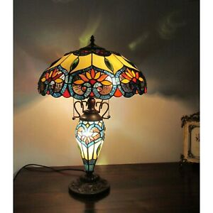 Details About Tiffany Style Victorian Table Lamp Green Brown Blue Stained  Glass Lighted Base