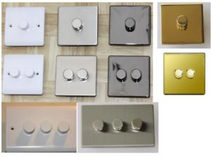 Bord De Fuite Del Dimmer Switch 2 Way Flat Chrome Brossé Nickel Noir Push On-afficher Le Titre D'origine Fabrication Habile