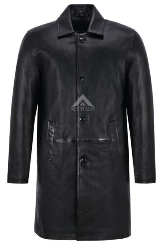 Men/'s Knee Length Leather Coat Black Classic 3//4 Trench Real Lambskin Coat 1476