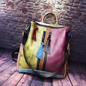2 Way Multicolor Vintage Patch Brushed Real Leather Backpack Purse Shoulder Bag
