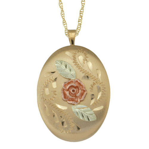 Black Hills 14K Gold Filled 24 X 16 mm Locket Dakota Rose 2-12K  Leaves #2834