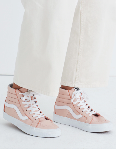 BNIB NEW MADEWELL x Vans Unisex Sk8-Hi High-Top Sneakers Pink Leather W 7.5  M 6
