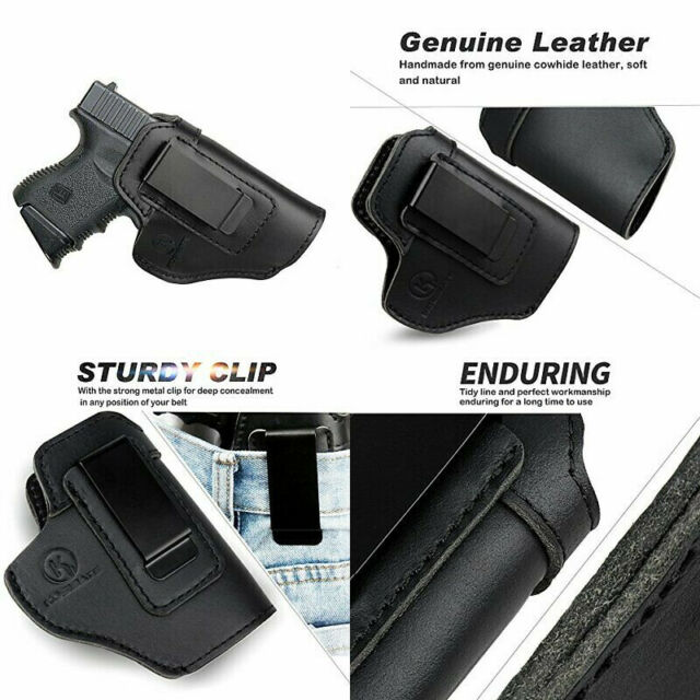 Kosibate Leather IWB Holster for Glock 19 23 43 26 / S&W M&P Shield 9mm black
