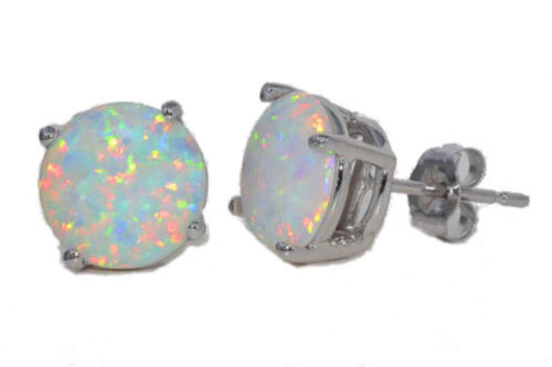 5mm Opal Round Stud Earrings White Gold Silver