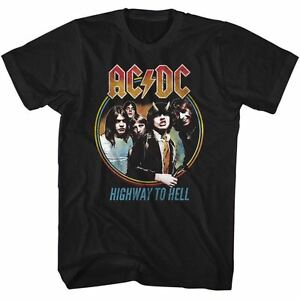 ACDC-Mens-T-Shirt-MENS-HIGHWAY-TO-HELL-100-Cotton-BLACK-Tee-in-SM-5XL