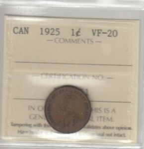 1925 Canada Small One Cent - ICCS VF-12 - Cert#XHW161