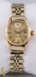 Rolex-Womens-Oyster-Perpetual-DateJust-6517-18k-Yellow-Gold-w-Jubilee-Band
