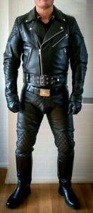 Men-039-s-Real-Leather-Pants-Double-Zips-Pants-Jeans-Trousers-Interest-BLUF-Pants