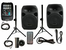 "STARAUDIO 2X1500W 10"" DJ PA Speakers W/1 Powered Mixer 1 Mic 2 Stands  2 Cables"