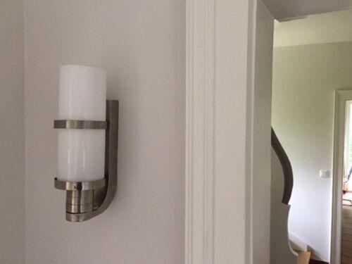 Messing vernickelt BAUHAUS WANDLAMPE Designleuchte Entwurf 1920 Opalglasröhre