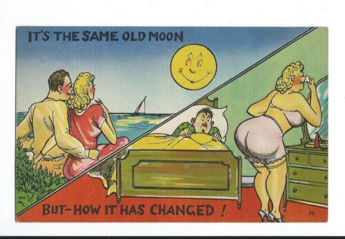 "Vintage Comedy Postcard ""It's The Same Old Moon ButHow It Has Changed"" Couple"