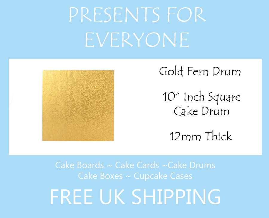 20 x 10  Inch Square Gold Wedding Birthday Cake Drum   Board 12mm