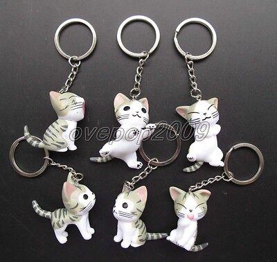 Lot Cartoon Japan Cute Cat 3D Key Chains Cartoon Metal Key Ring Party Gifts N198