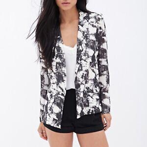 Forever 21 Blazer Womens Size Medium Black White Tie Dye Long Sleeve Lined NWT