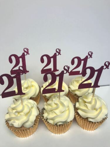 21st Anniversaire Ou Anniversaire Paillettes Rose Cup Cake Toppers X 12