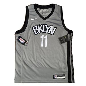 Nike Dri-Fit NBA Brooklyn Nets BKLYN Grey Jersey #11 IRVING Youth Women's L BNWT