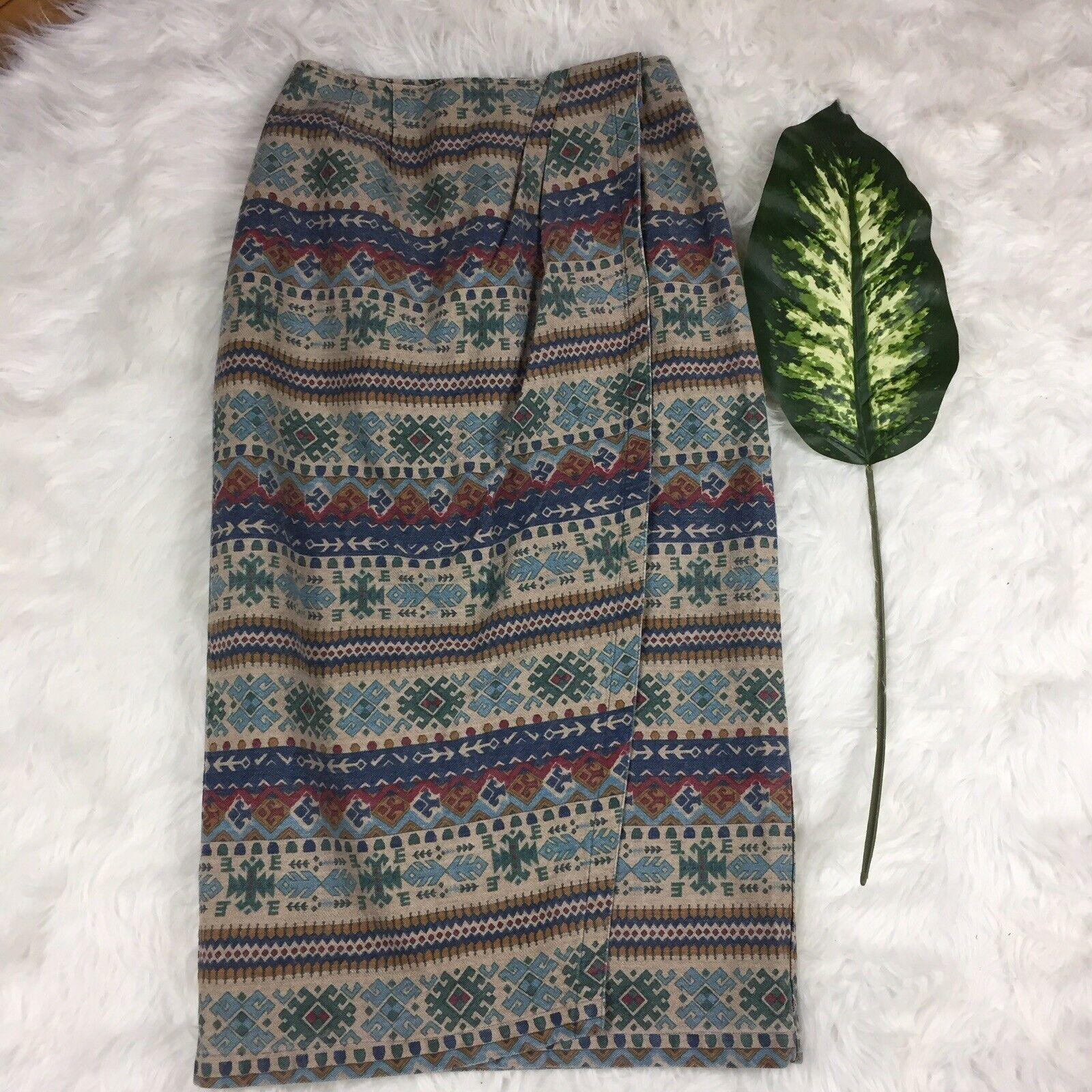 Vtg USA Made Susan Bristol Sz 12 Long Maxi Straight Pencil Skirt Southwest Aztec